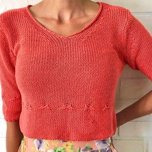 Cropped 3/4 length sleeve coral cotton knit top 8